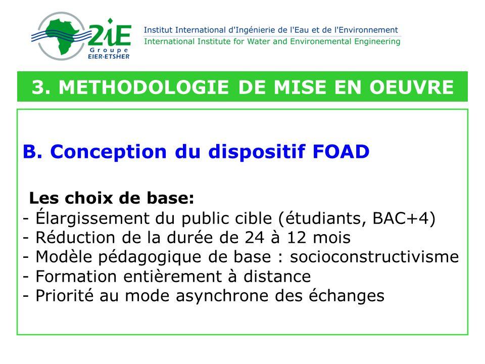 B. Conception du dispositif FOAD Les choix de base: - Élargissement du public cible (étudiants, BAC+4) - Réduction de la durée de 24 à 12 mois - Modèl