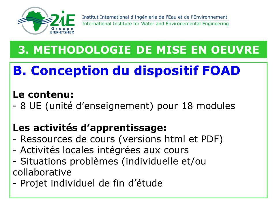 B. Conception du dispositif FOAD Le contenu: - 8 UE (unité denseignement) pour 18 modules Les activités dapprentissage: - Ressources de cours (version