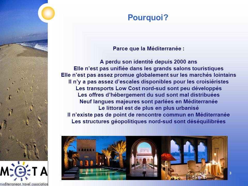 3 Parce que la Méditerranée : A perdu son identité depuis 2000 ans Elle nest pas unifiée dans les grands salons touristiques Elle nest pas assez promu