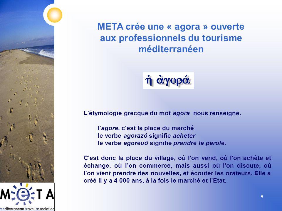 4 META crée une « agora » ouverte aux professionnels du tourisme méditerranéen L'étymologie grecque du mot agora nous renseigne. l'agora, c'est la pla