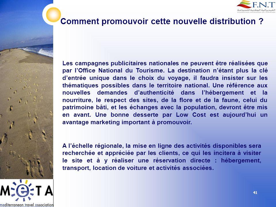 41 Comment promouvoir cette nouvelle distribution ? Les campagnes publicitaires nationales ne peuvent être réalisées que par lOffice National du Touri