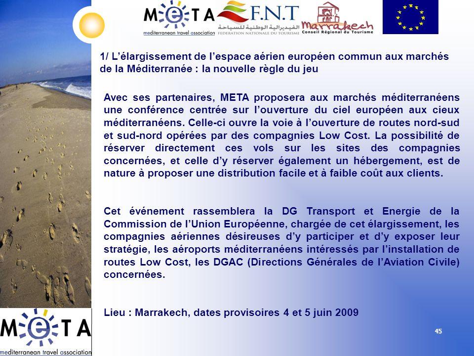 45 1/ Lélargissement de lespace aérien européen commun aux marchés de la Méditerranée : la nouvelle règle du jeu Avec ses partenaires, META proposera