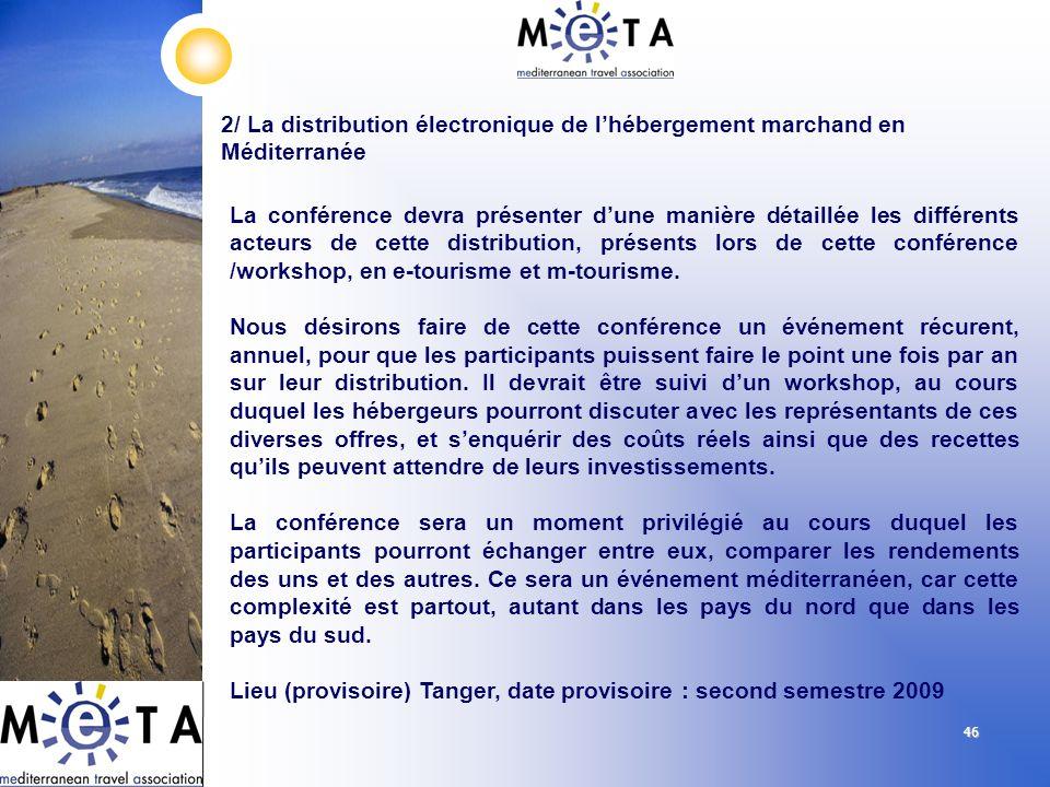 46 2/ La distribution électronique de lhébergement marchand en Méditerranée La conférence devra présenter dune manière détaillée les différents acteur