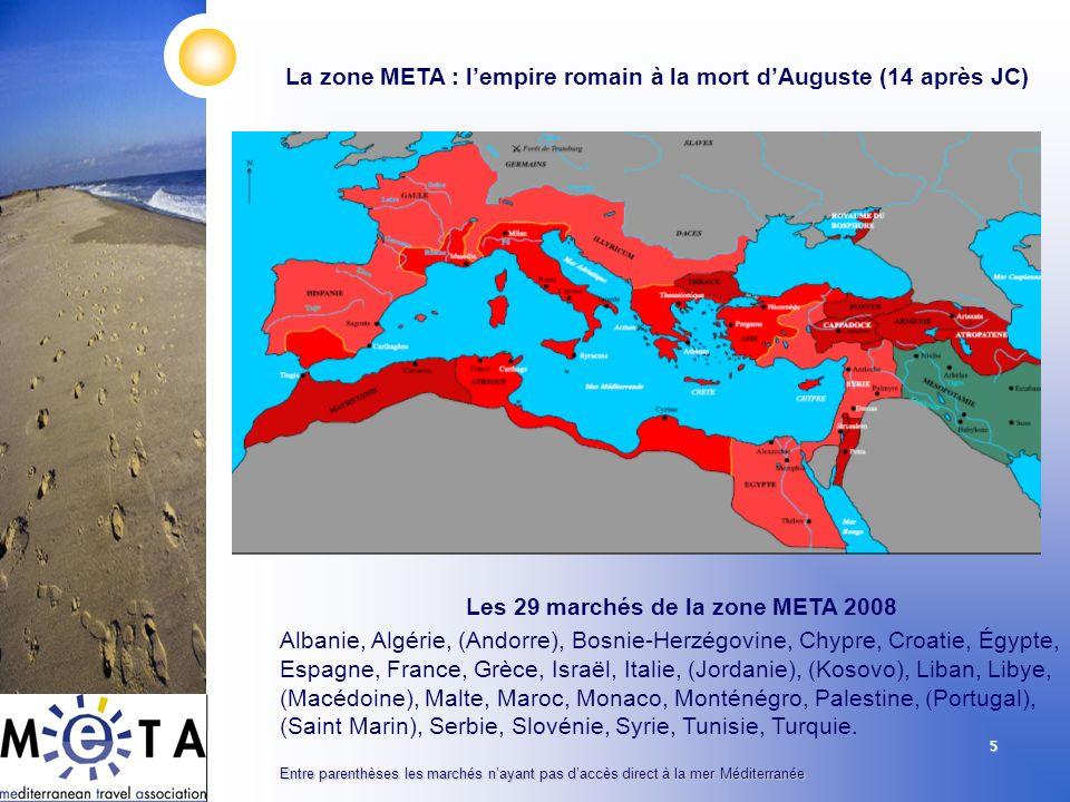 5 La zone META : lempire romain à la mort dAuguste (14 après JC) Les 29 marchés de la zone META 2008 Albanie, Algérie, (Andorre), Bosnie-Herzégovine,