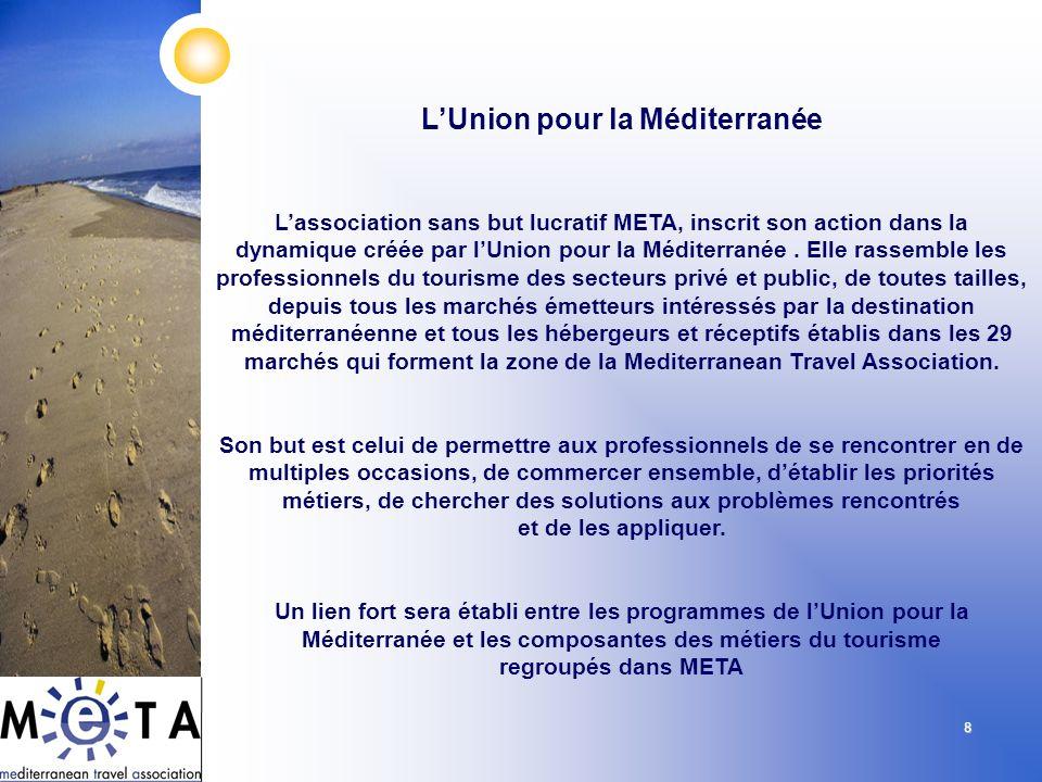 8 Lassociation sans but lucratif META, inscrit son action dans la dynamique créée par lUnion pour la Méditerranée. Elle rassemble les professionnels d