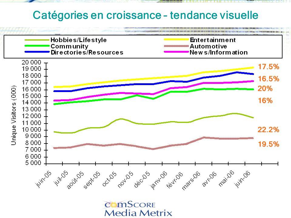 16.5% 19.5% 22.2% 16% 20% 17.5% Catégories en croissance – tendance visuelle