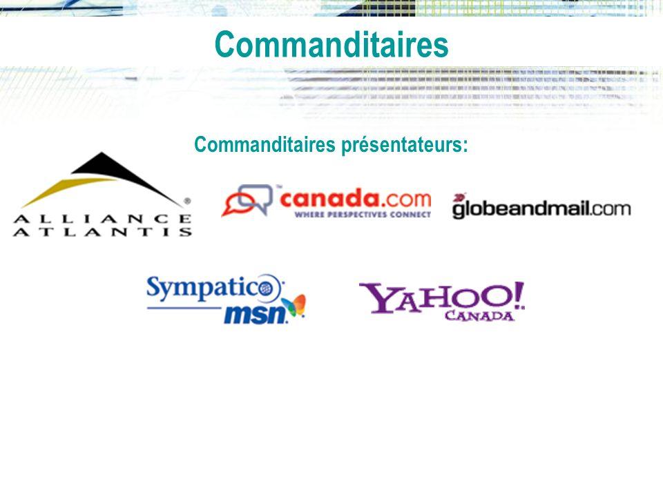 Commanditaires principaux: Commanditaire spécialisé: Commanditaires