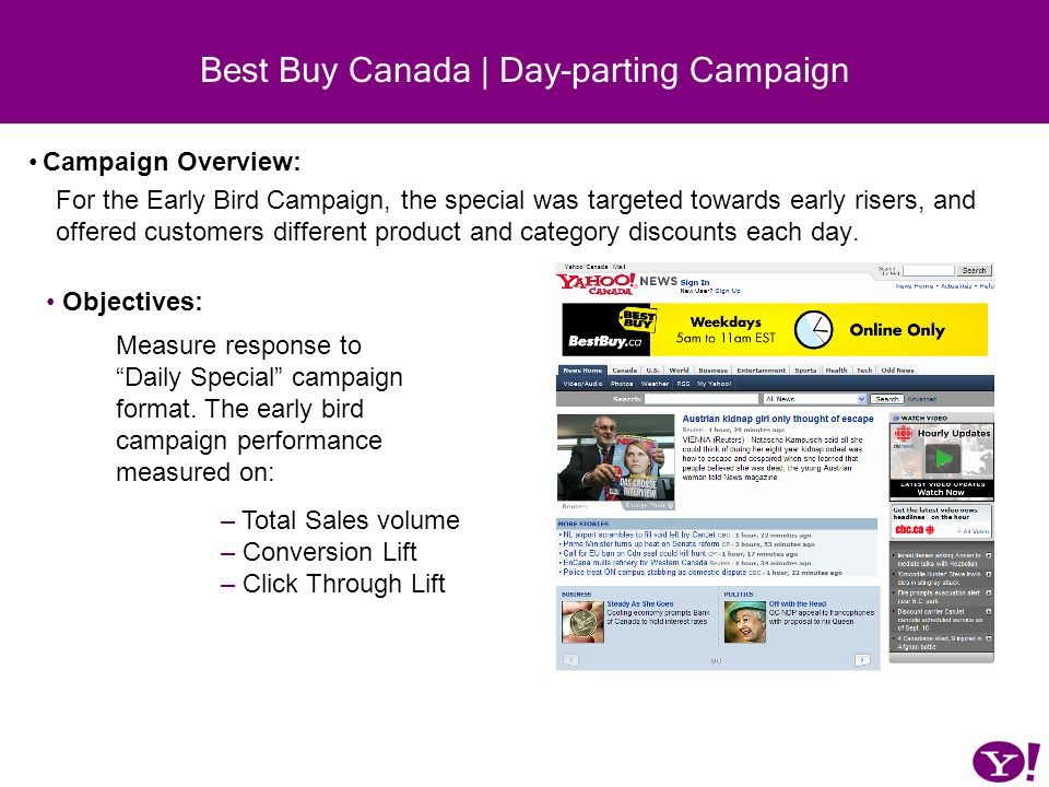 Best Buy Canada | Day-parting Campaign Campaign Overview: For the Early Bird Campaign, the special was targeted towards early risers, and offered cust