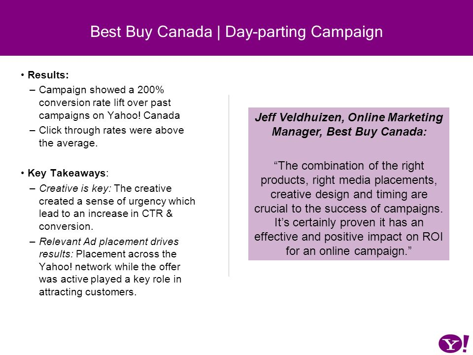 Results: –Campaign showed a 200% conversion rate lift over past campaigns on Yahoo! Canada –Click through rates were above the average. Key Takeaways: