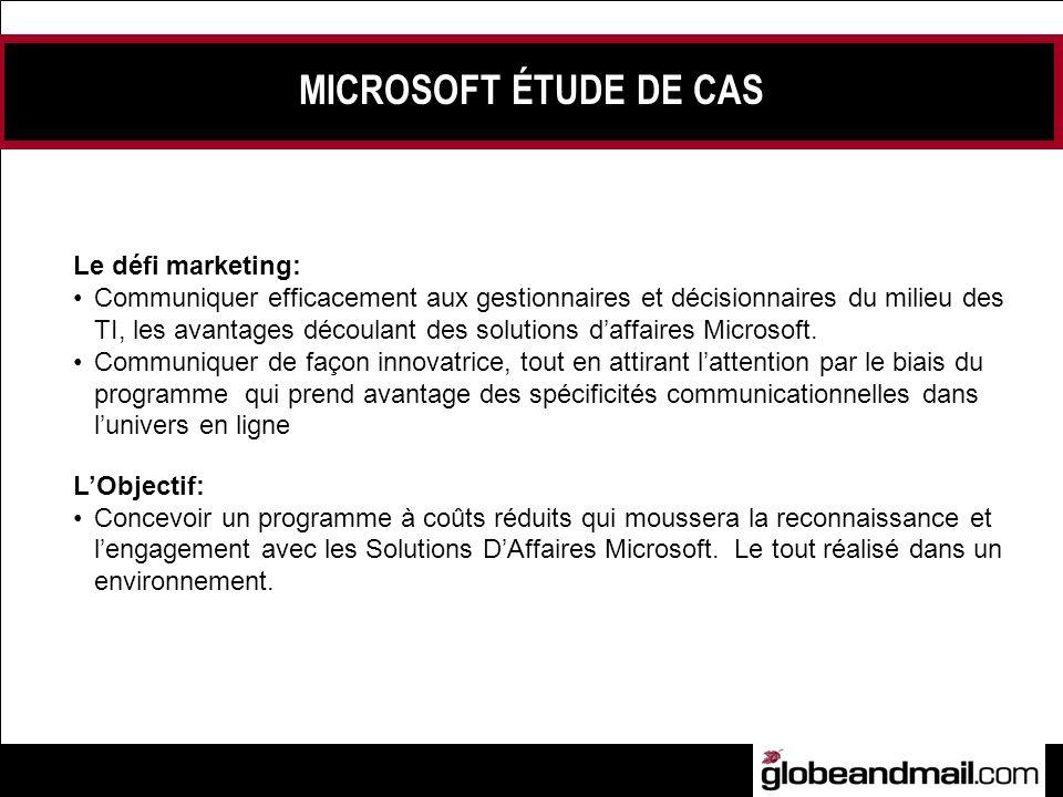 Le défi marketing: Communiquer efficacement aux gestionnaires et décisionnaires du milieu des TI, les avantages découlant des solutions daffaires Microsoft.