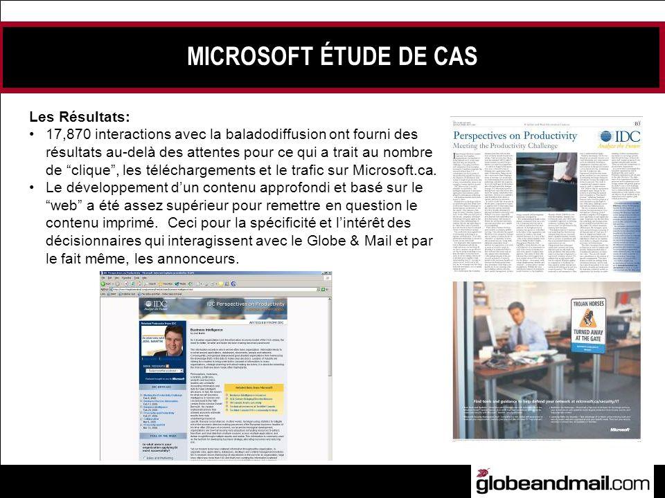 MICROSOFT ÉTUDE DE CAS Les Résultats: 17,870 interactions avec la baladodiffusion ont fourni des résultats au-delà des attentes pour ce qui a trait au nombre de clique, les téléchargements et le trafic sur Microsoft.ca.