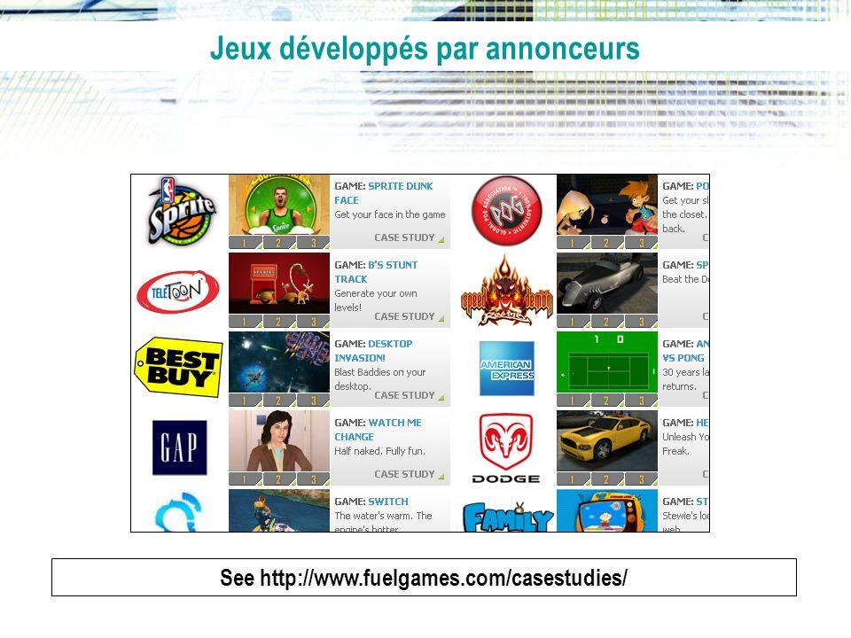 See http://www.fuelgames.com/casestudies/ Jeux développés par annonceurs
