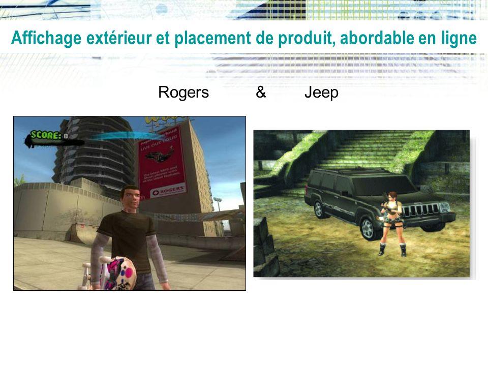 Affichage extérieur et placement de produit, abordable en ligne Rogers & Jeep