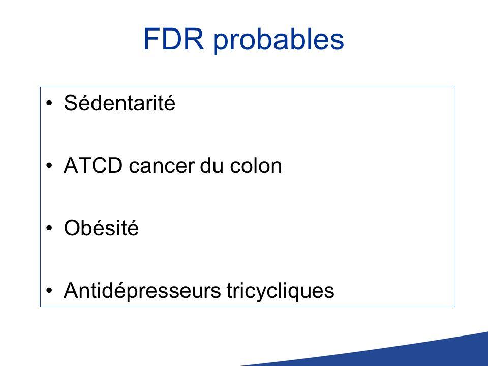 FDR probables Sédentarité ATCD cancer du colon Obésité Antidépresseurs tricycliques