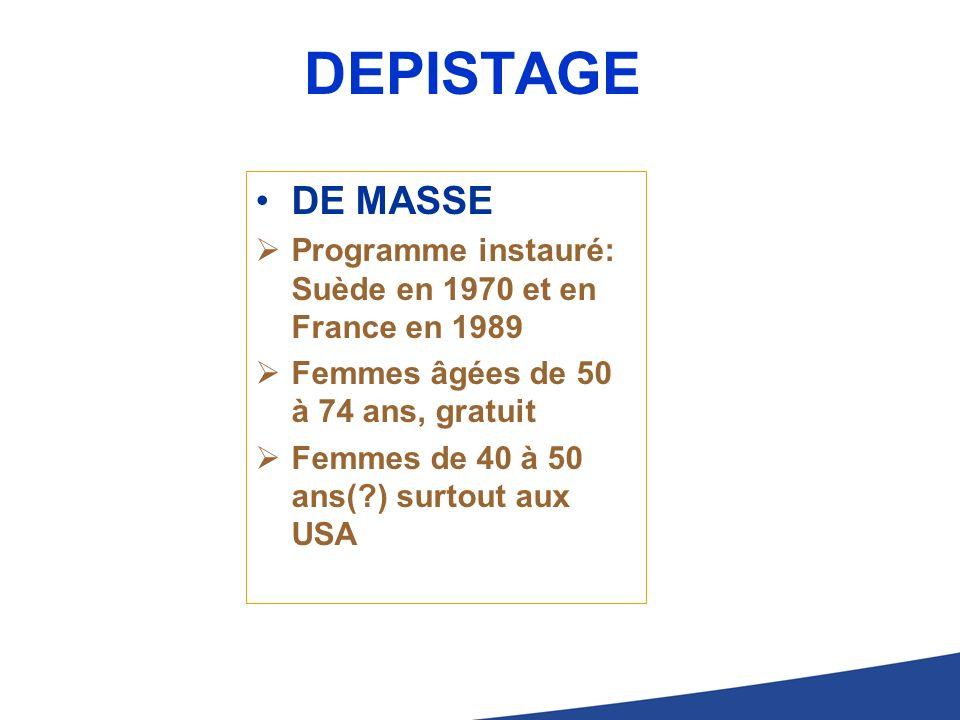 DEPISTAGE DE MASSE Programme instauré: Suède en 1970 et en France en 1989 Femmes âgées de 50 à 74 ans, gratuit Femmes de 40 à 50 ans(?) surtout aux US