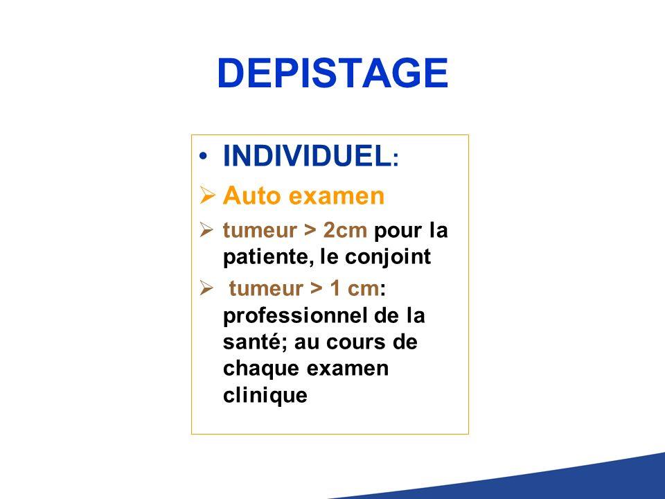 DEPISTAGE INDIVIDUEL : Auto examen tumeur > 2cm pour la patiente, le conjoint tumeur > 1 cm: professionnel de la santé; au cours de chaque examen clin