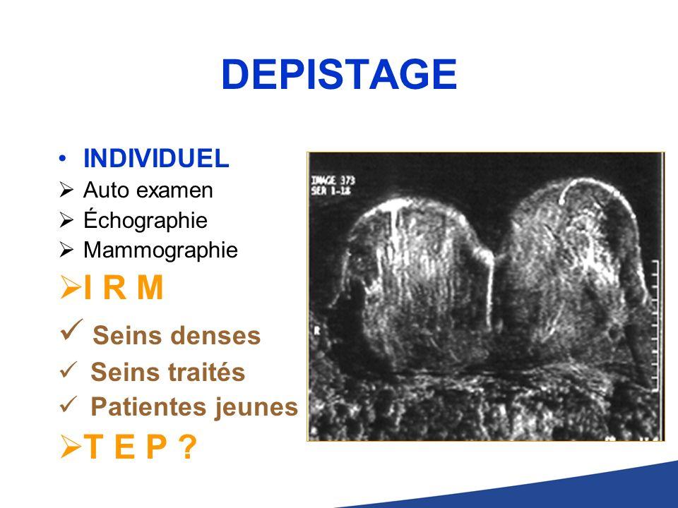 DEPISTAGE INDIVIDUEL Auto examen Échographie Mammographie I R M Seins denses Seins traités Patientes jeunes T E P ?