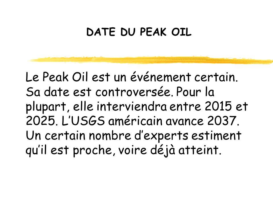 DATE DU PEAK OIL Le Peak Oil est un événement certain.