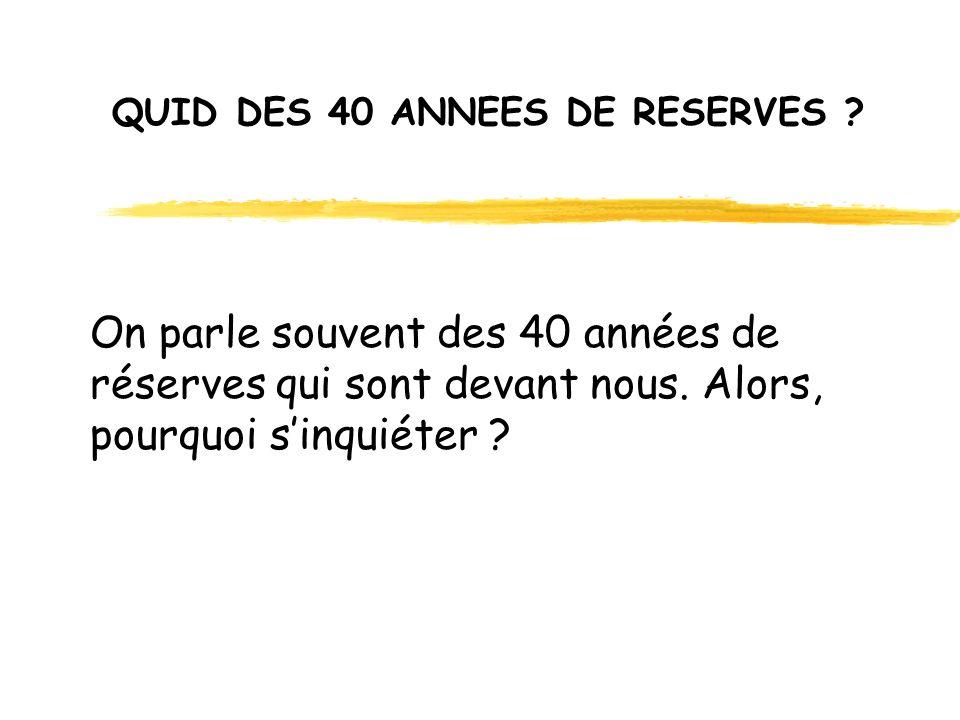 QUID DES 40 ANNEES DE RESERVES . On parle souvent des 40 années de réserves qui sont devant nous.