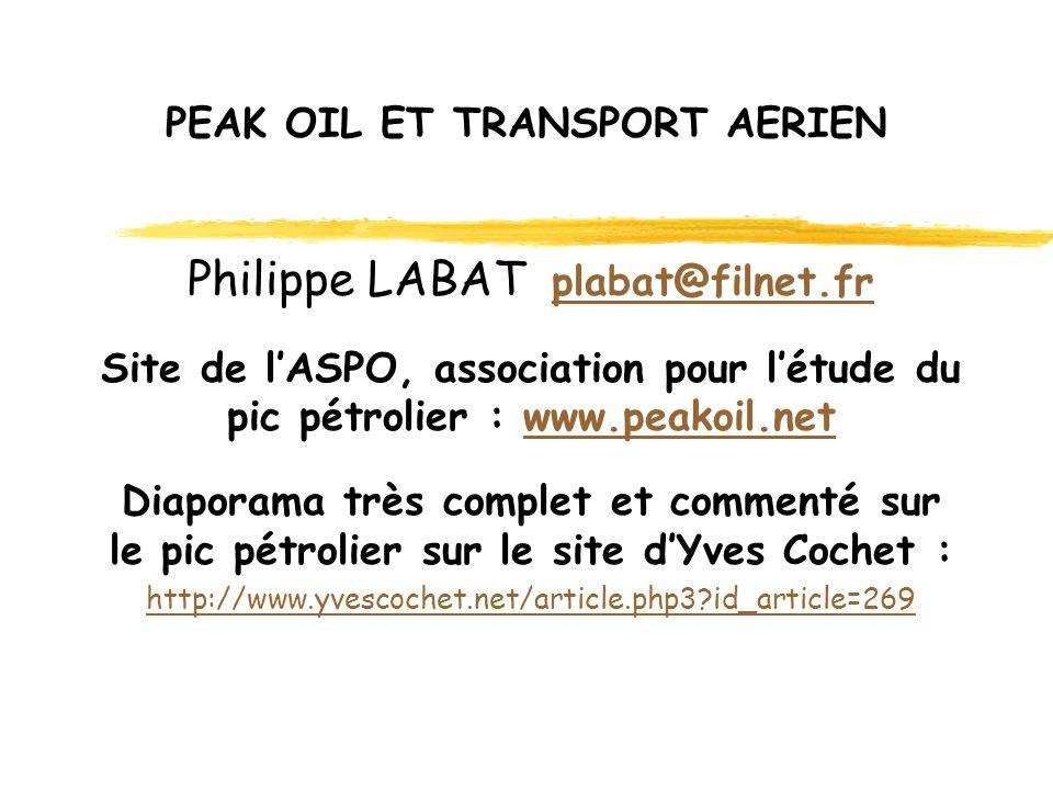 PEAK OIL ET TRANSPORT AERIEN Philippe LABAT plabat@filnet.fr plabat@filnet.fr Site de lASPO, association pour létude du pic pétrolier : www.peakoil.netwww.peakoil.net Diaporama très complet et commenté sur le pic pétrolier sur le site dYves Cochet : http://www.yvescochet.net/article.php3 id_article=269