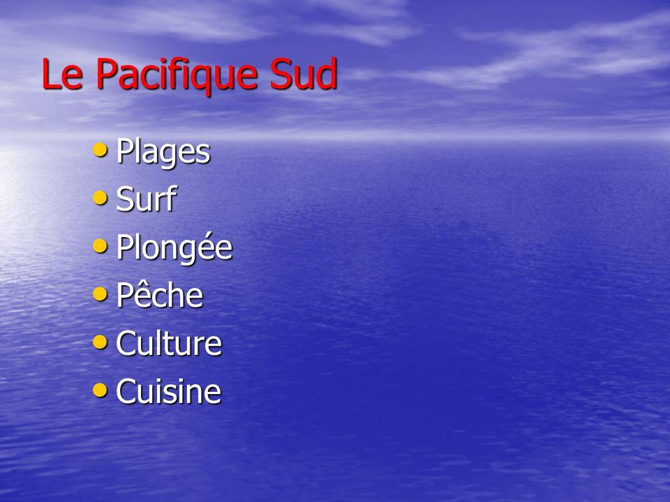 Le Pacifique Sud Plages Plages Surf Surf Plongée Plongée Pêche Pêche Culture Culture Cuisine Cuisine