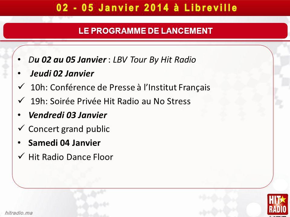 LE PROGRAMME DE LANCEMENT Du 02 au 05 Janvier : LBV Tour By Hit Radio Jeudi 02 Janvier 10h: Conférence de Presse à lInstitut Français 19h: Soirée Priv