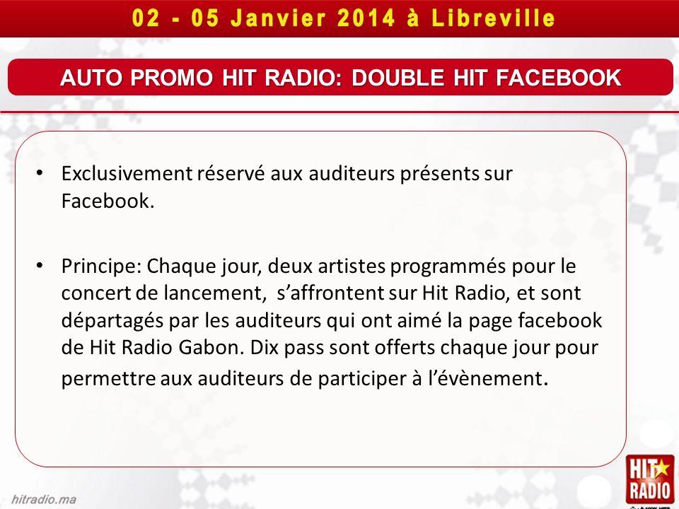 AUTO PROMO HIT RADIO: DOUBLE HIT FACEBOOK Exclusivement réservé aux auditeurs présents sur Facebook. Principe: Chaque jour, deux artistes programmés p