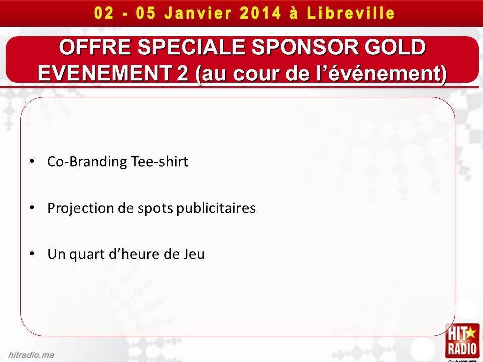 OFFRE SPECIALE SPONSOR GOLD EVENEMENT 2 (au cour de lévénement) Co-Branding Tee-shirt Projection de spots publicitaires Un quart dheure de Jeu