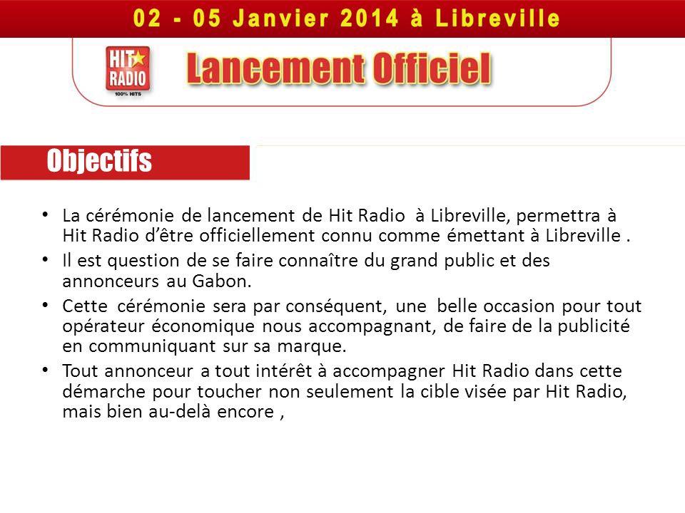 Objectifs La cérémonie de lancement de Hit Radio à Libreville, permettra à Hit Radio dêtre officiellement connu comme émettant à Libreville. Il est qu