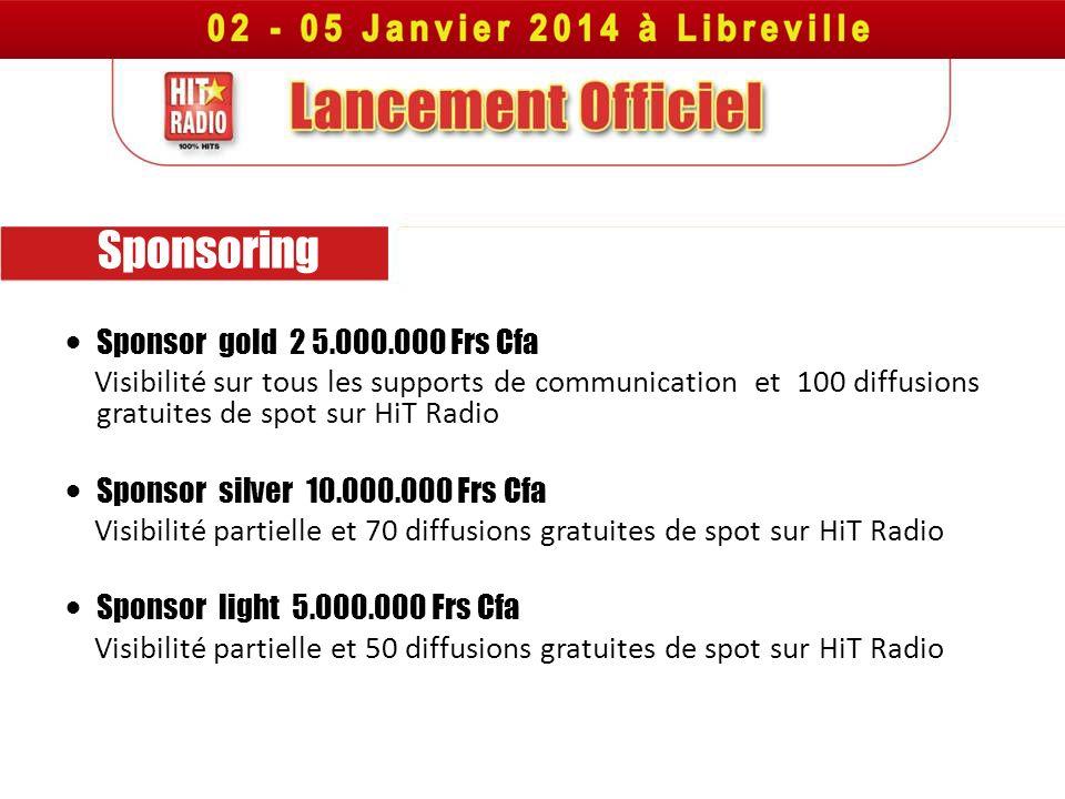 Sponsoring Sponsor gold 2 5.000.000 Frs Cfa Visibilité sur tous les supports de communication et 100 diffusions gratuites de spot sur HiT Radio Sponso