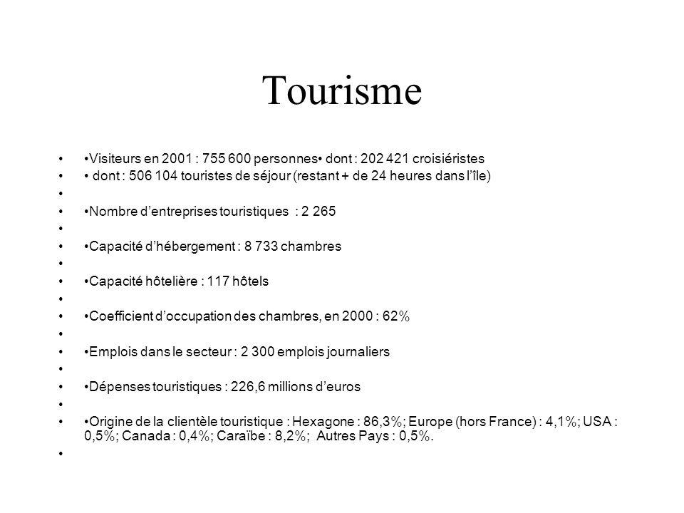 Tourisme Visiteurs en 2001 : 755 600 personnes dont : 202 421 croisiéristes dont : 506 104 touristes de séjour (restant + de 24 heures dans lîle) Nomb