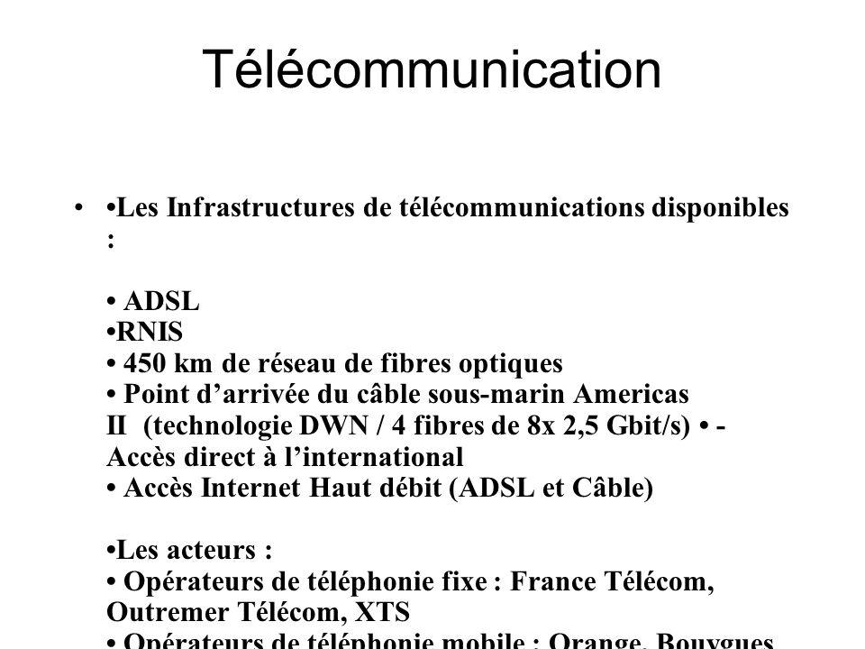 Télécommunication Les Infrastructures de télécommunications disponibles : ADSL RNIS 450 km de réseau de fibres optiques Point darrivée du câble sous-m