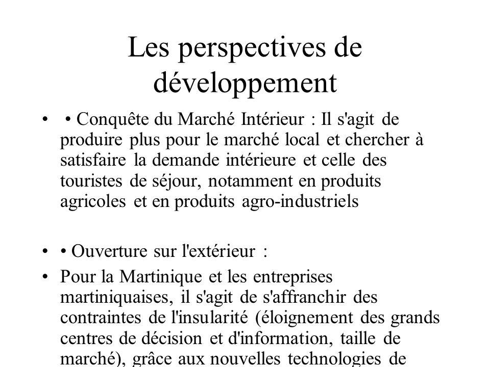 Les perspectives de développement Conquête du Marché Intérieur : Il s'agit de produire plus pour le marché local et chercher à satisfaire la demande i