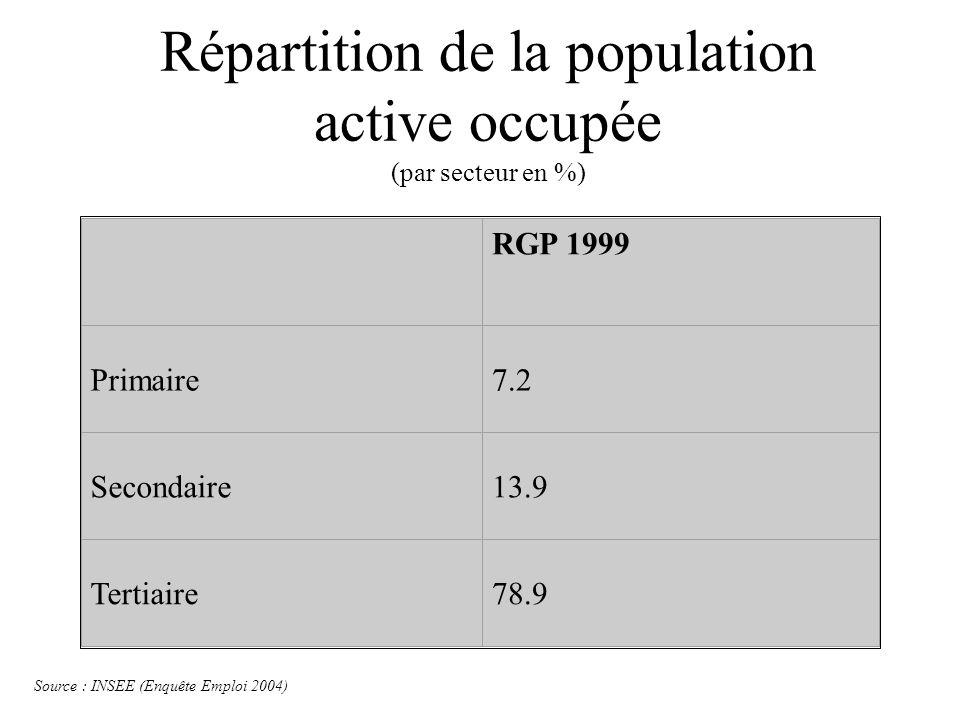 Répartition de la population active occupée (par secteur en %) RGP 1999 Primaire7.2 Secondaire13.9 Tertiaire78.9 Source : INSEE (Enquête Emploi 2004)