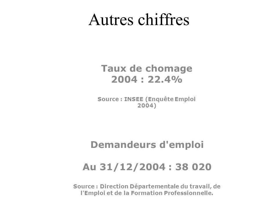 Autres chiffres Demandeurs d'emploi Au 31/12/2004 : 38 020 Source : Direction Départementale du travail, de l'Emploi et de la Formation Professionnell