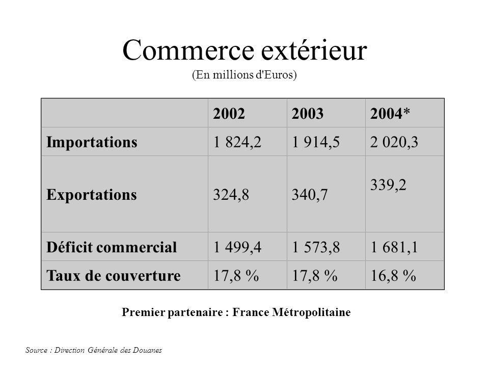 Commerce extérieur (En millions d'Euros) 200220032004* Importations1 824,21 914,52 020,3 Exportations324,8340,7 339,2 Déficit commercial1 499,41 573,8
