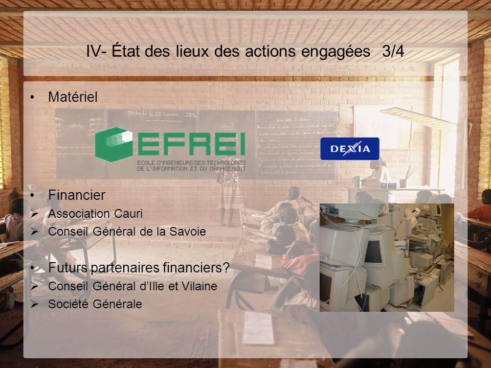 IV- État des lieux des actions engagées 3/4 Matériel Financier Association Cauri Conseil Général de la Savoie Futurs partenaires financiers? Conseil G