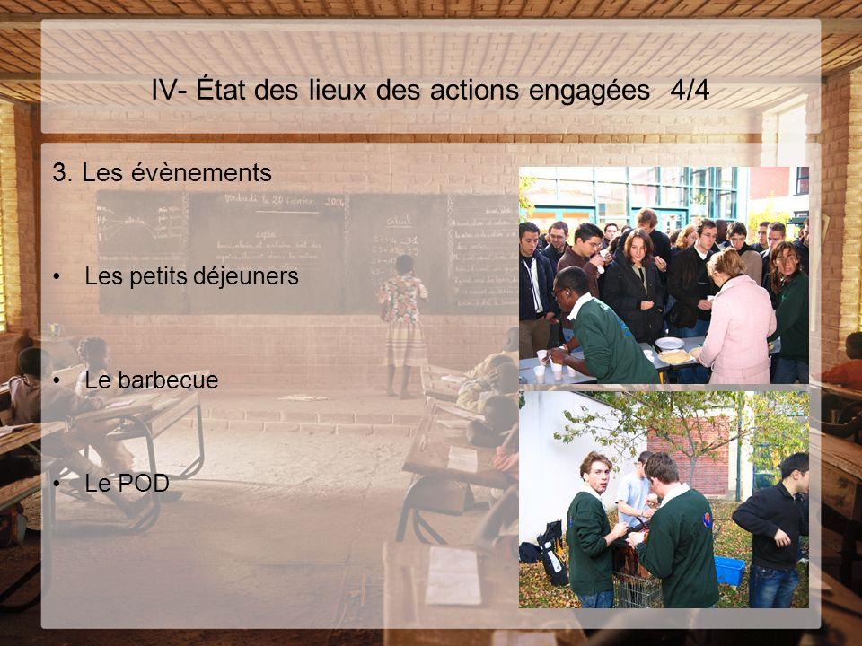 IV- État des lieux des actions engagées 4/4 3. Les évènements Les petits déjeuners Le barbecue Le POD