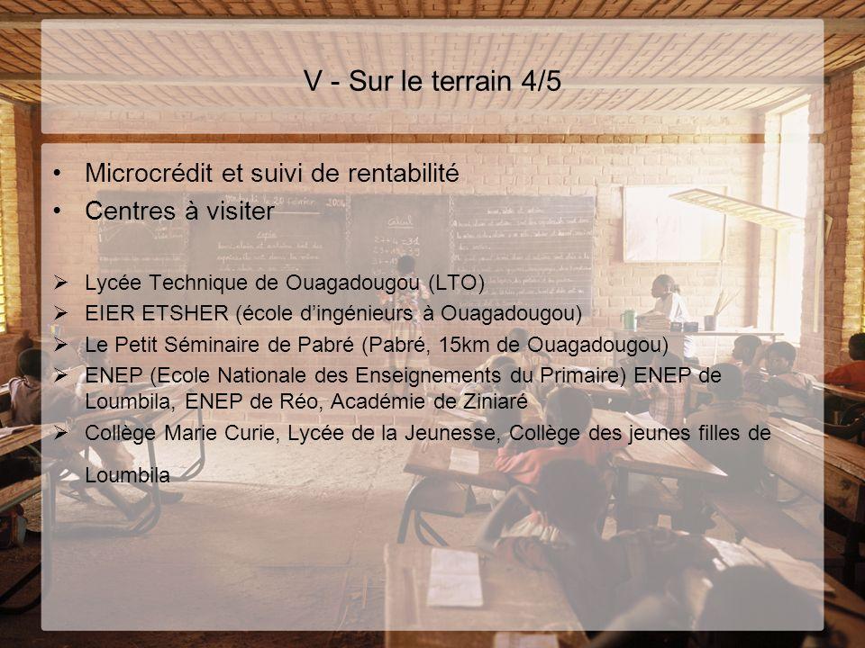 V - Sur le terrain 4/5 Microcrédit et suivi de rentabilité Centres à visiter Lycée Technique de Ouagadougou (LTO) EIER ETSHER (école dingénieurs à Oua