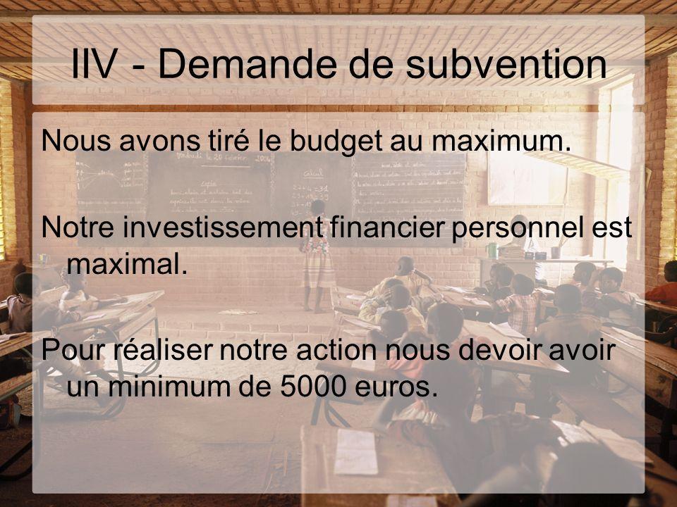 IIV - Demande de subvention Nous avons tiré le budget au maximum. Notre investissement financier personnel est maximal. Pour réaliser notre action nou
