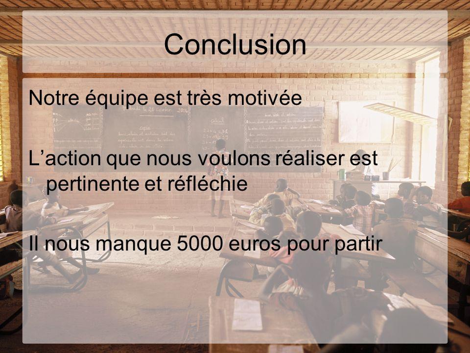 Conclusion Notre équipe est très motivée Laction que nous voulons réaliser est pertinente et réfléchie Il nous manque 5000 euros pour partir