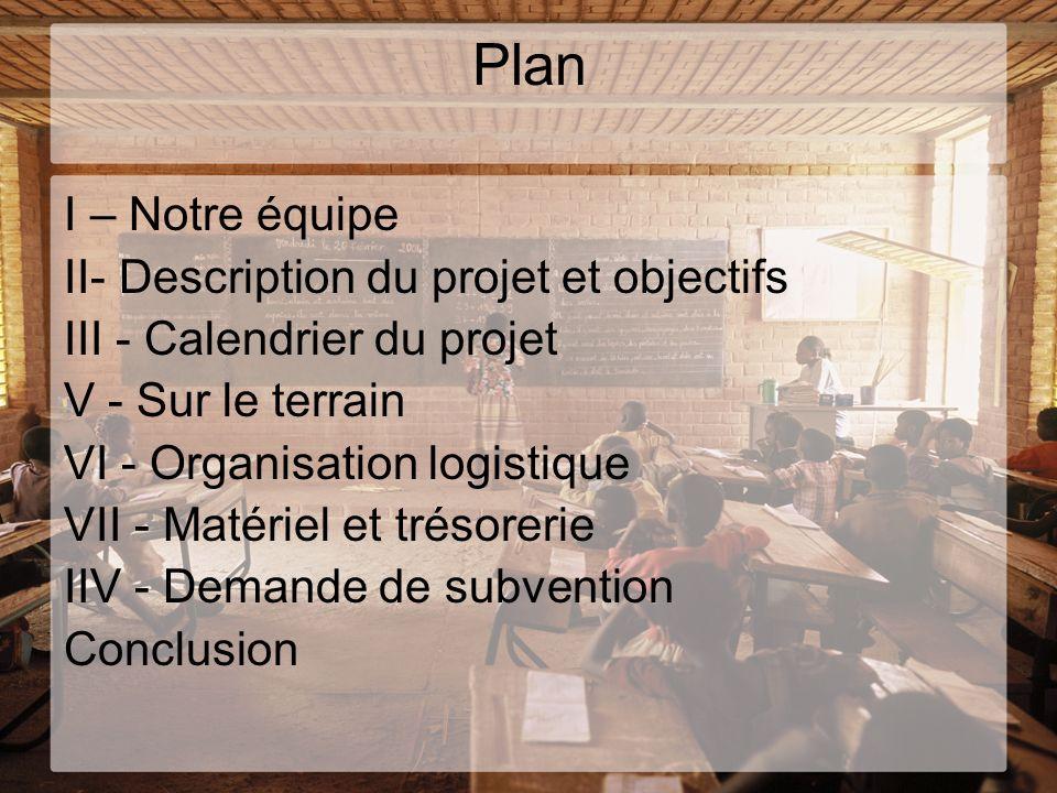 Plan I – Notre équipe II- Description du projet et objectifs III - Calendrier du projet V - Sur le terrain VI - Organisation logistique VII - Matériel