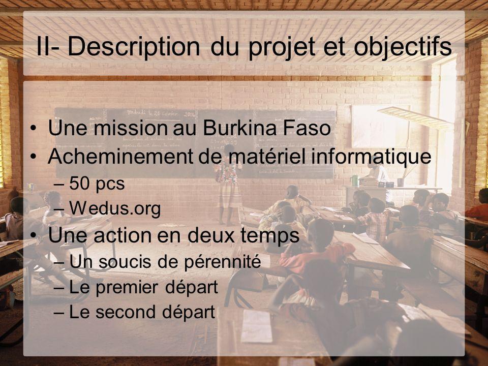 II- Description du projet et objectifs Une mission au Burkina Faso Acheminement de matériel informatique –50 pcs –Wedus.org Une action en deux temps –
