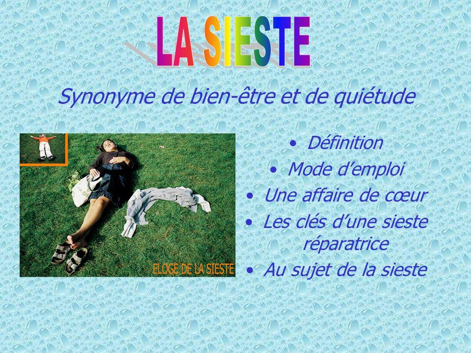 La sieste mode d emploi FORMES ET PRÉSENTATIONS : «Sieste : temps que l on donne au sommeil, pendant la plus chaude partie du jour...» (Émile Littré, Dictionnaire de la langue française, 1863-1872).