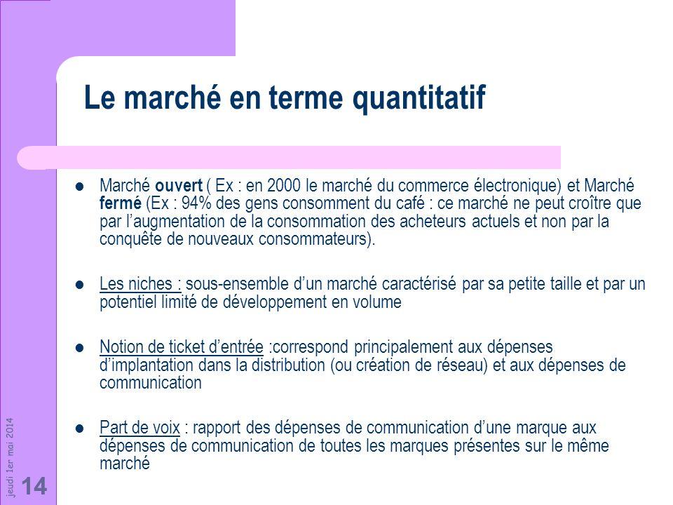 jeudi 1er mai 2014 14 Marché ouvert ( Ex : en 2000 le marché du commerce électronique) et Marché fermé (Ex : 94% des gens consomment du café : ce marc