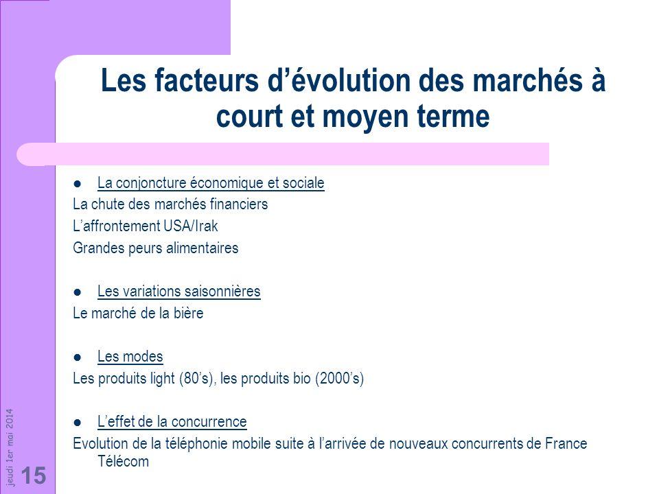 jeudi 1er mai 2014 15 Les facteurs dévolution des marchés à court et moyen terme La conjoncture économique et sociale La chute des marchés financiers