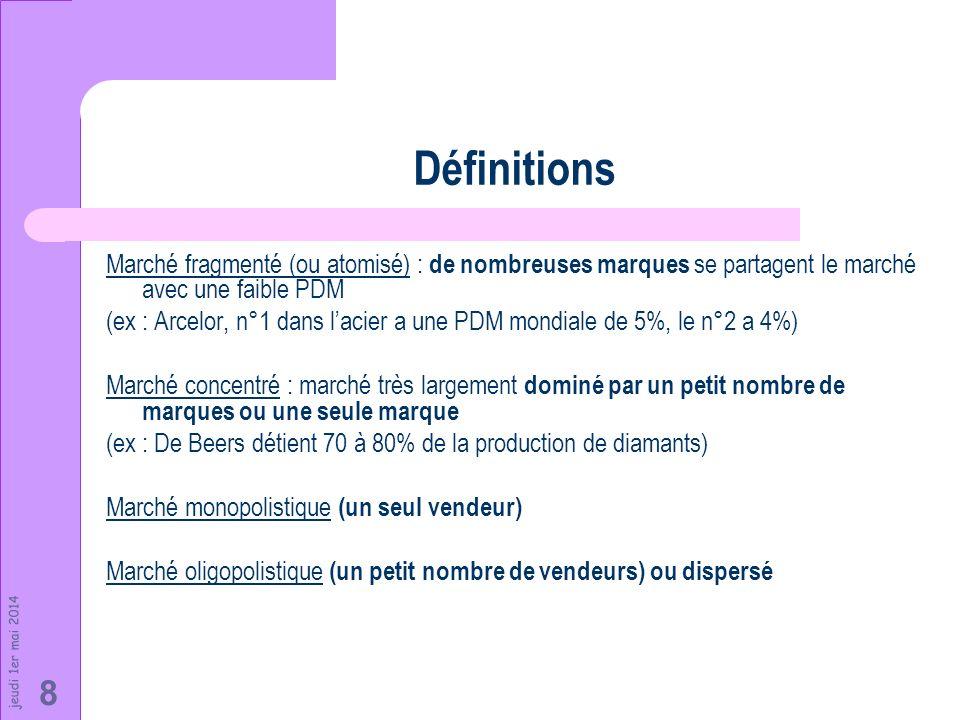 jeudi 1er mai 2014 8 Définitions Marché fragmenté (ou atomisé) : de nombreuses marques se partagent le marché avec une faible PDM (ex : Arcelor, n°1 d