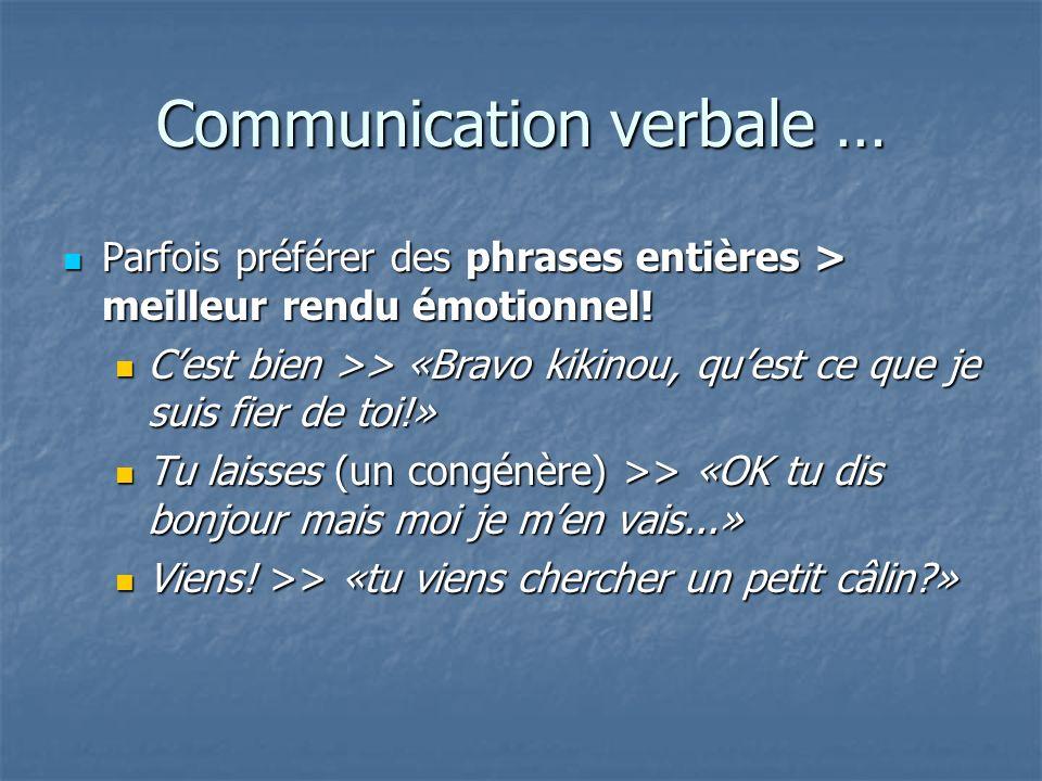 Communication verbale … Parfois préférer des phrases entières > meilleur rendu émotionnel! Parfois préférer des phrases entières > meilleur rendu émot