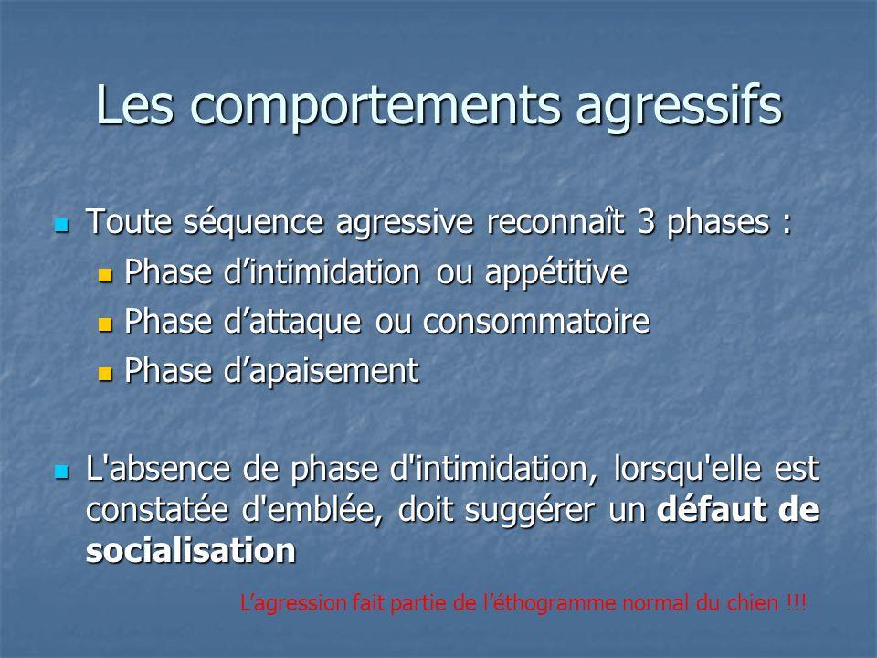 Toute séquence agressive reconnaît 3 phases : Toute séquence agressive reconnaît 3 phases : Phase dintimidation ou appétitive Phase dintimidation ou a