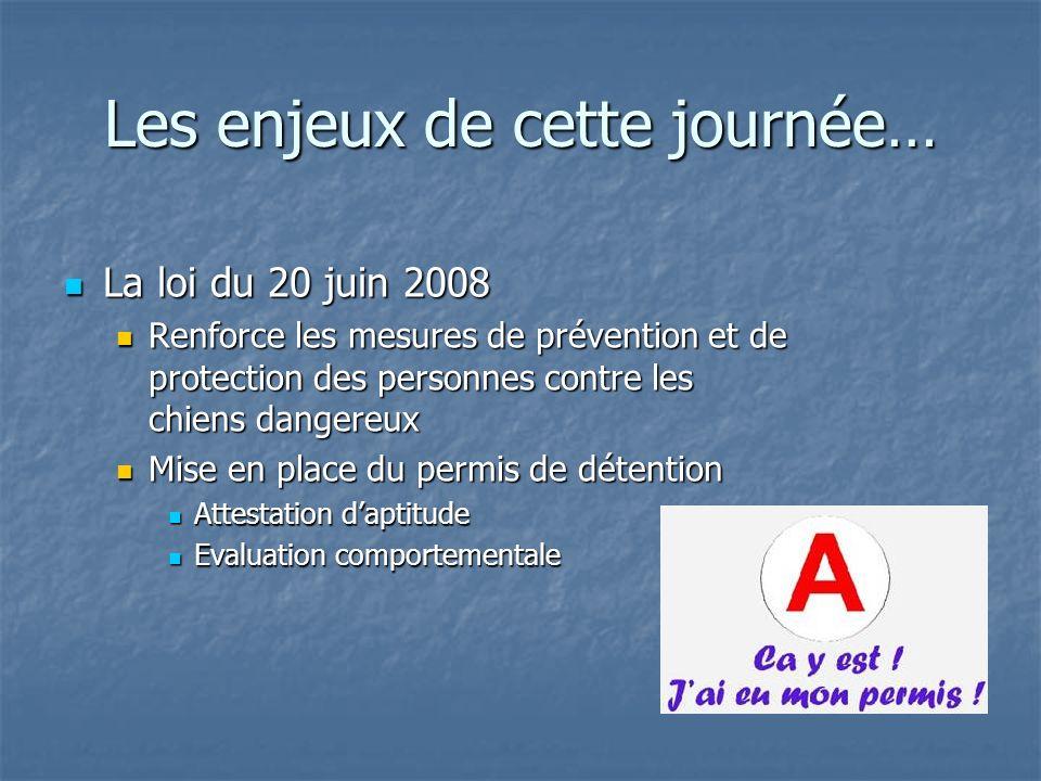 Les enjeux de cette journée… La loi du 20 juin 2008 La loi du 20 juin 2008 Renforce les mesures de prévention et de protection des personnes contre le